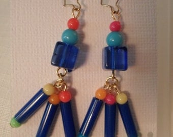 Vintage / CALYPSO EARRINGS / Pierced / Lucite / Art Moderne / Modernist / Retro / Funky / Kitsch / Artsy / Blue / Red / Yellow / Chic / OOAK
