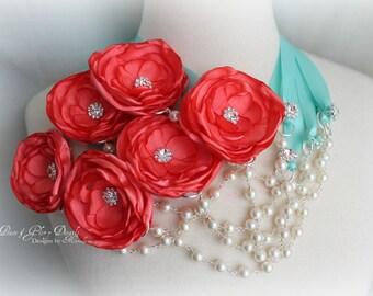 Bridesmaid Jewelry - Set of 6 Pearl Crystal Ribbon Necklace - Coral Aqua Blue - Bridal Bridesmaids Gift Accessory - Many Colors