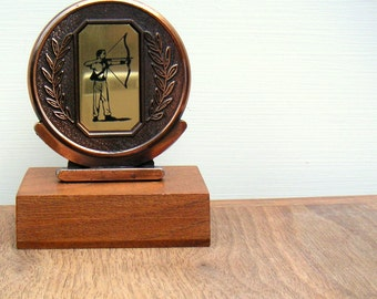 Vintage Archery Trophy Mid Century Wood and Metal