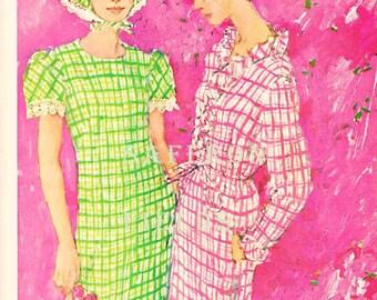 "Vintage Fashion Ad Watercolor Illustration Shift Dresses Pink & Green Checks, Printed Ephemera ""Tanner Manner"" 1960s Retro Salon Wall Art"
