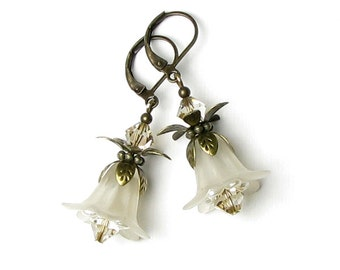 Ivory Flower Earrings, White Linen Floral, Swarovski Crystal, Antique Brass Earrings, Off White Flower Jewelry, Vanilla, Cream, Romantic