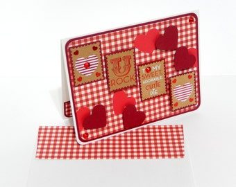 Red Gingham Valentine's Day Card with Matching Embellished Envelope