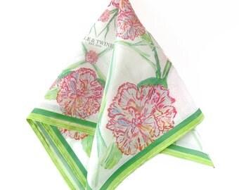 Carnation. Pocket Square. Handkerchief. watercolor