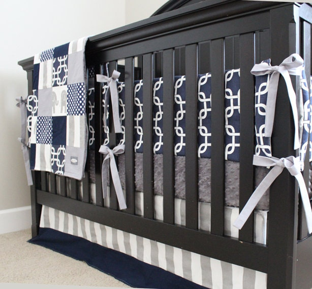 Navy Blue Gray Boy Nursery Bedding Crib Set Modern Geometric