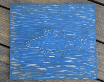 Hand Carved Woodblock Blue Fish Wall Art 11 x 13, Rustic Cottage Cabin Decor, Fishing, Catfish, Campground