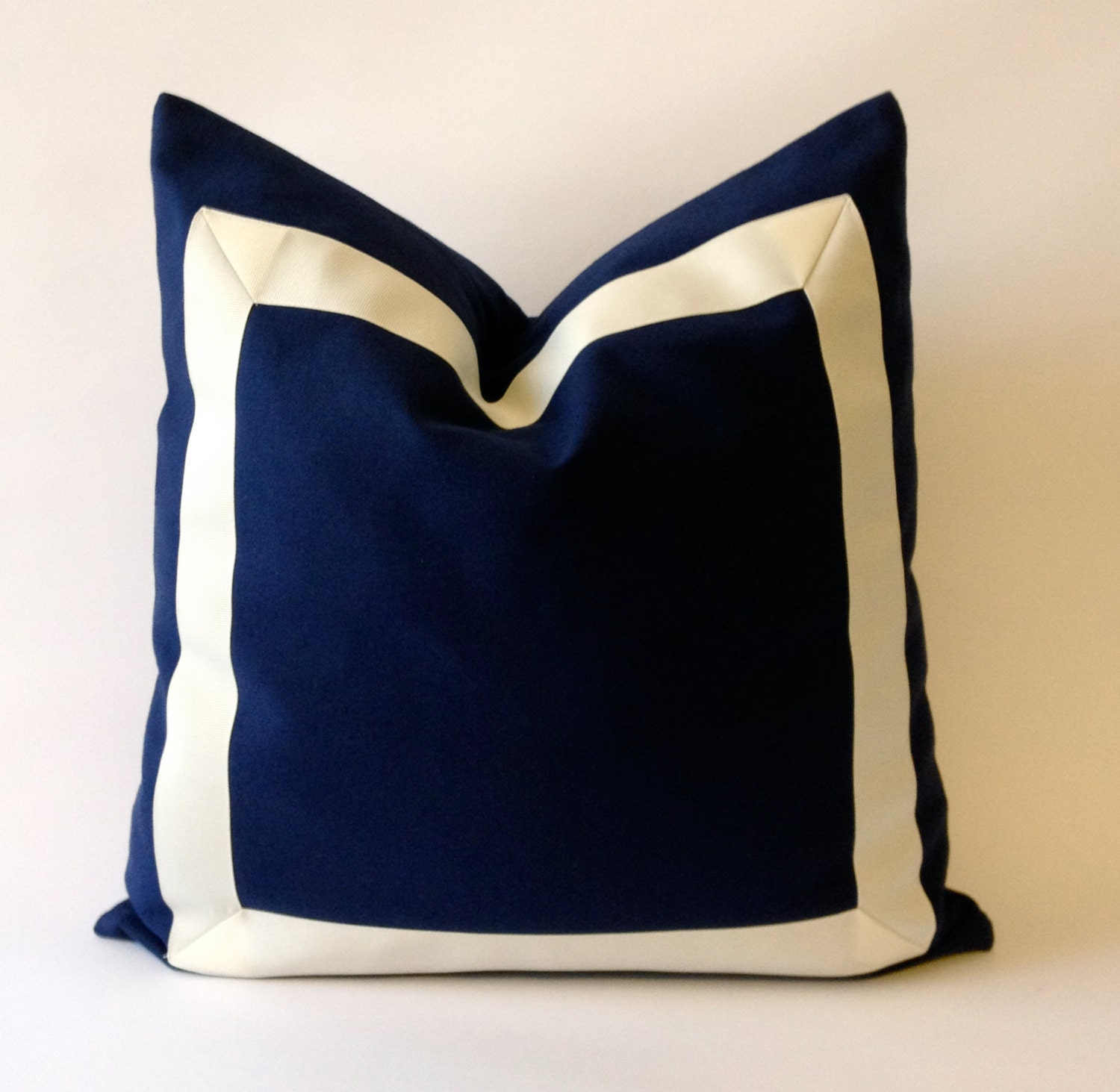 Navy Blue Decorative Pillow Covers : Decorative Throw Pillow Cover in Navy Blue Cotton Canvas