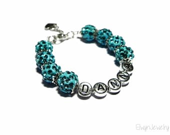 Personalized Bracelet, Name Bracelet, Letter Bracelet, Initial Bracelet, Child Bracelet, Flower Girl Gift, Turquoise Bracelet, Kids Jewelry