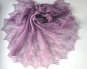 Purple Hand Knit Shawl, Lavender Knit Shawl, Lilac Knitted Shawl, Wedding Knit Shawl, Mauve Shawl. Radiant Orchid