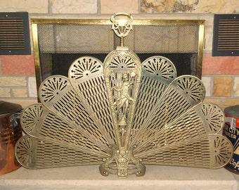Vintage Brass Fireplace Peacock Fan Summer Fireplace