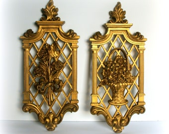TRUE VINTAGE GOLD - Ornate Hollywood Regency Decor - Set of 2 1960's wall plaques with original metallic gold finish- Mid Century Decoration