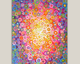 Cheerful -  Giclee Print on Stretched Canvas in Pink, Blue, Orange, Purple