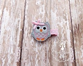Owl Hair Clip, Felt Owl Hair Clip, Gray and Pink Owl Felt Clippie, Embroidered Hair Clip for Baby, Toddler or Girl