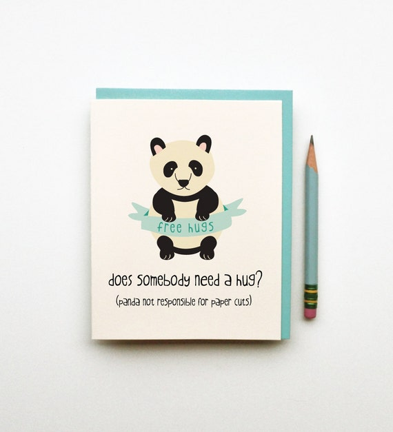 does somebody need a hug sympathy get well cute silly panda and banner illustration card funny silly