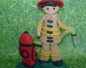 Fire Fighter Hydrant Handcrafted Polymer Clay Milestone Cake Topper Hose Fireman Helmet Firefighter Birthday Grooms Dalmatian Dog Promotion