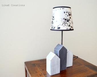 Wood houses table lamp, handmade, ready to ship, fall winter home decor