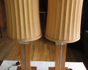 Mid Century Modern Wood and Lucite Lamps With Original Shades - Set of 2