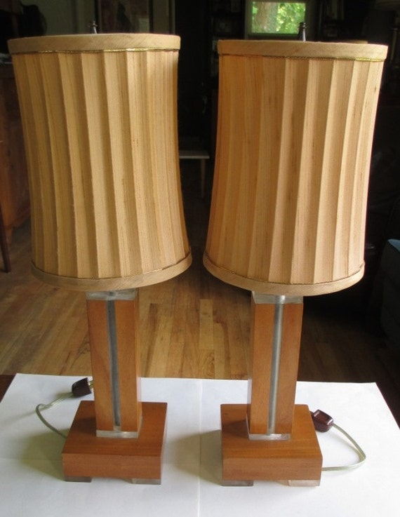 reserved for mitch mid century modern wood and lucite lamps with