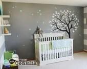 "Baby Nursery Tree Wall Decal Wall Sticker - Owl Tree Wall Decal - Owl, Stars and Tree Decals - Large: approx 71"" x 59"" - KC054"