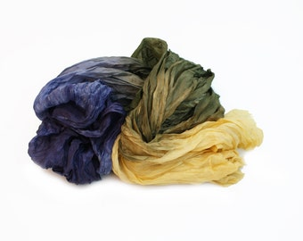 olive silk scarf - Perfect Fall Strangers-  olive, blue purple, yellow silk scarf.