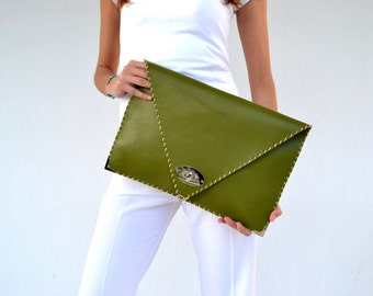 Green leather clutch / Handmade leather bag/ Large clutch / Olive green cow leather
