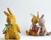 Made to order Yellow Mohair Bunny Nikolay - Pocket Bunny - Stuffed Rabbit - Soft Toy Bunny - Stuffed Animal - Artist Teddy Bears