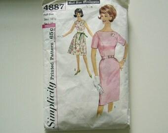 Vintage 1960's MiD CenTuRy MoDeRn DRESS Sewing Pattern  Simplicity 4887 Half Size Slenderette size 16 1/2 Bust 37