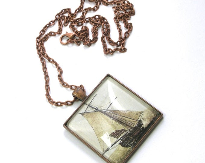 Vintage Sailboat Illustration with Union Jack Flag in an Antique Copper Square Pendant with a Domed Glass Cabochon on a Copper Chain