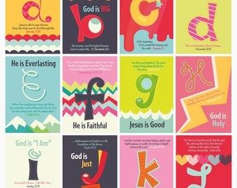 Nursery Wall Art, Children's Bible Verses, ABC's of God, Set of 26 Prints (5x7)