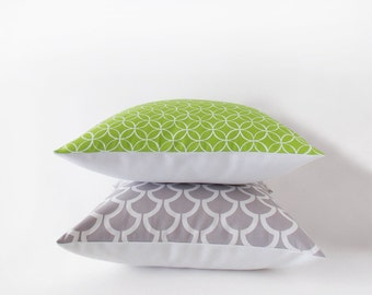 Sale 30% off - Apple green pillow cover with a geometric design - 40x40 cm / 16x16 inches