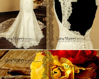 High Collar Design Lace Wedding Dress features Sweetheart Neckline and Keyhole Open Back with Scalloped Edges