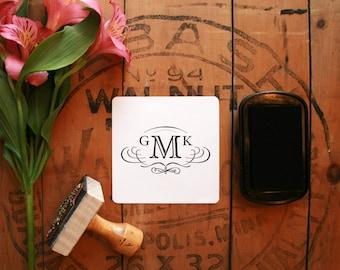 "Vintage Calligraphic Monogram Stamp - Custom Wedding Logo Stamp - Retro Wedding Stamp - 1.5"" x 2.5"" - Elizabeth"