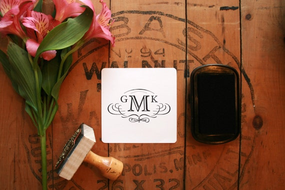 "Vintage Calligraphic Monogram Stamp - Custom Wedding Logo Stamp - Retro Wedding Stamp - 1.5"" x 2.5"" - Elizabeth"
