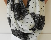 SO SOFT Scarf Infinity Scarf Polka Dots Black Lace Print Scarf Spring Summer Fall Women Fashion Accessories Mothers Day Gift Ideas For Her