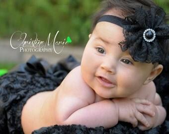 Baby headbands, baby girl headbands, black lace flower headband, newborn headbands, infant headbands, girls headbands, black headbands