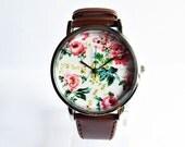 Floral  Watch, Vintage Style Leather Watch, Women Watches, Unisex Watch, Boyfriend Watch, Silver Case , Gold Case,  Black, Brown