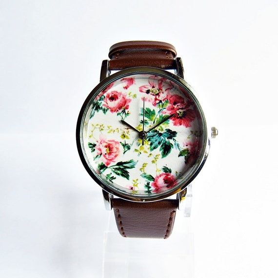 SALE! Floral  Watch, Vintage Style Leather Watch, Women Watches, Unisex Watch, Boyfriend Watch, Silver Case , Gold Case,  Black, Brown