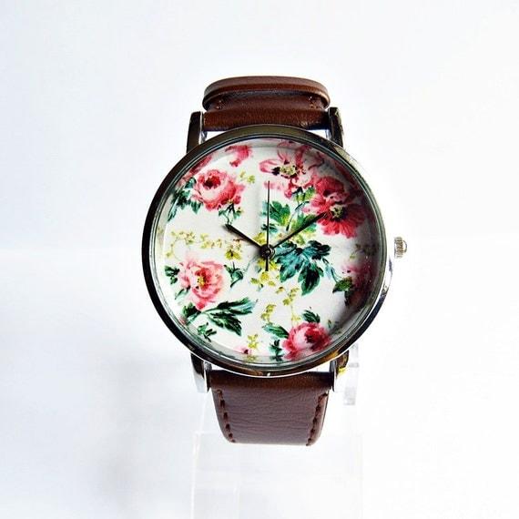 Watch floral, Style Vintage en cuir montre, Montres femme, montre unisexe, copain Watch, étui d'argent, noir,