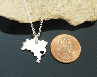 Tiny Sterling Silver Brazil Necklace / Custom Heart / Small Brazil Necklace / Love Brasil / Country Necklace / Brazil Wedding