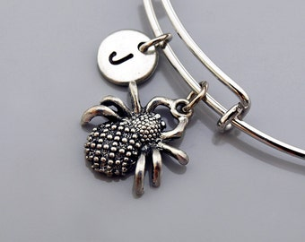 Spider charm Bangle, Spider bracelet, Spider jewelry, Expandable bangle, Personalized bracelet, Charm bangle, Monogram, Initial bracelet