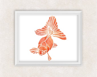 Fancy Goldfish Art - Watercolor Print - Fish Painting - Home Decor - Wall Art 8x10 PRINT - Item #721