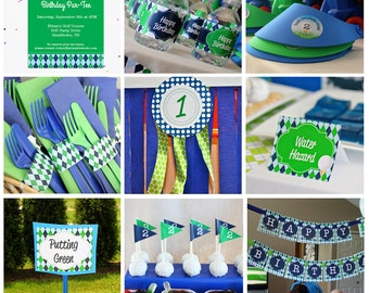 Golf Birthday Party Decorations and Invitation INSTANT DOWNLOAD Golf Party by Printable Studio