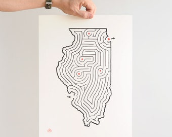 "12x16"" ILLINOIS Map State Maze 
