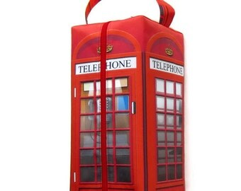 Bigger Boxy Bag Knitting Project Bag, British Telephone Box