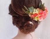 bridal headpiece, coral wedding, coral flower crown, ivy, flower headpiece, head wreath, pink floral crown, bridal flower crown, peony hair