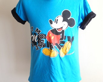 1990s novelty MICKEY MOUSE tshirt with contrast roll up sleeves UNISEX sz. Small / Medium