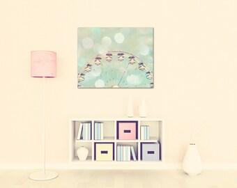 ferris wheel canvas large wall art nursery decor pastels baby girl nursery art mint peach art nursery fine art