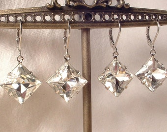Art Deco Crystal Rhinestone Silver Dangle Drop Earrings Bridesmaid Gift Set 4 5 6 7 Square 1920s Bridal Jewelry Great Gatsby Wedding Vintage