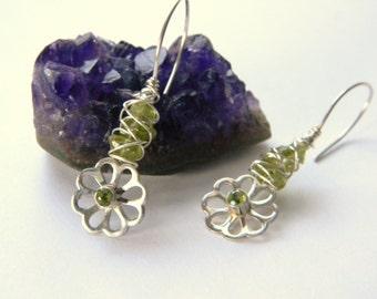 Peridot Earrings.  Peridot Flower Sterling Silver Earrings. Made in Maine. Boutique. Boho. Handmade. Genuine Gemstones earrings. caged gems