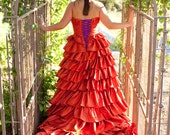 Burnt Orange Wedding Dress Custom Made