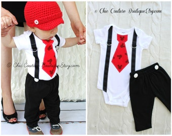 Mickey Mouse Birthday Black Pants w White Buttons ONLY.  Baby Boy First Birthday Party Disney Style Clothing